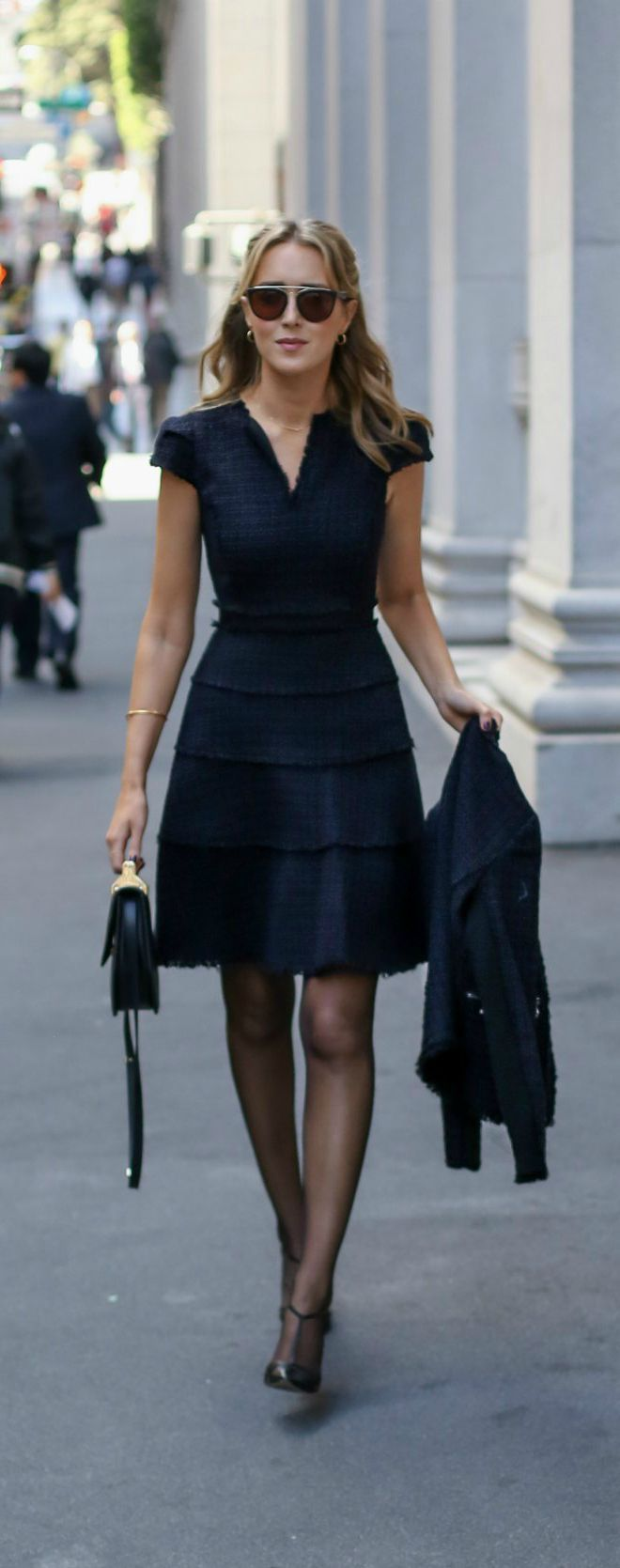 Black And Navy Tweed Fit And Flare Short Sleeve Dress With