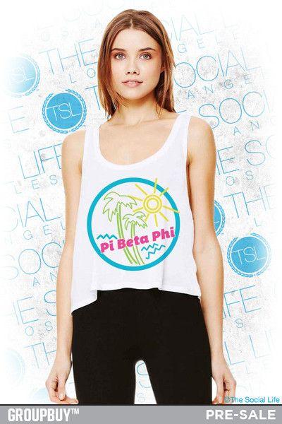 Pi Phi Neon Beach Crop Tank