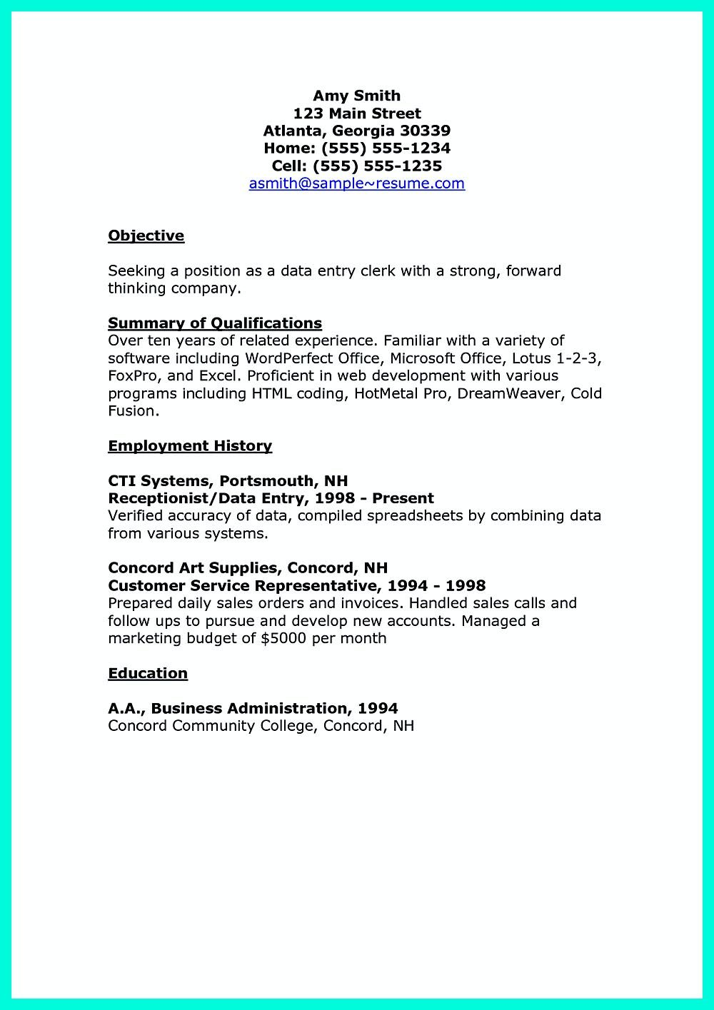 resume Sample Resume For Data Entry Clerk your data entry resume is the essential marketing key to get job you seek