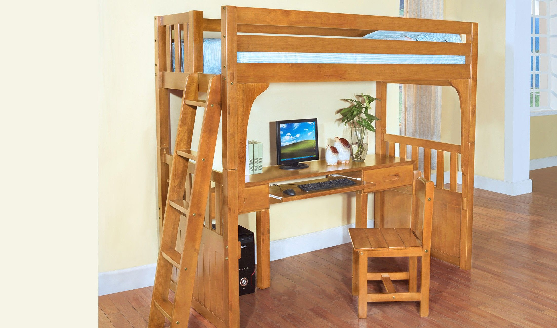 Loft bed with desk for small room  Discovery World Furniture HONEY Twin over Desk Loft  Pinterest