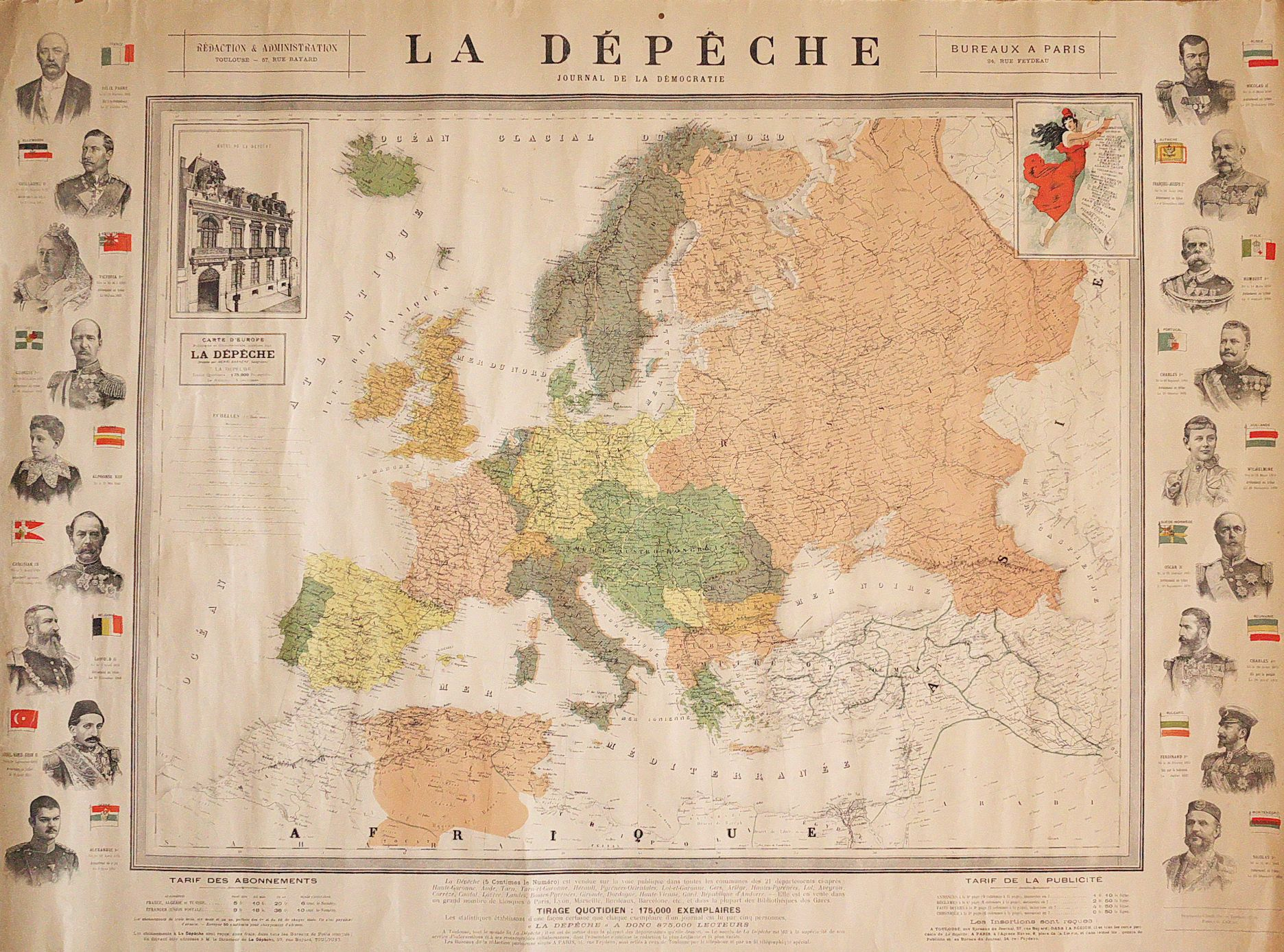 Antique Map Rare Political Wall Map Of Europe Images Of Queen Victoria Franz Joseph Etc Europe Map Wall Maps Antique Maps