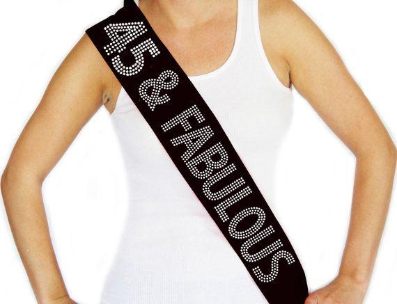 Rhinestone 45 & Fabulous Black Sash  Birthday Sash by ABridalShop, $19.99