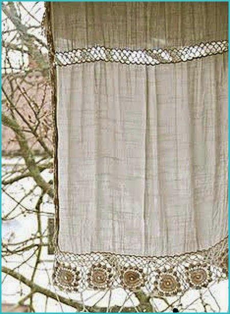 Resultado de imagen para cortinas lienzo y crochet for Cortinas rusticas
