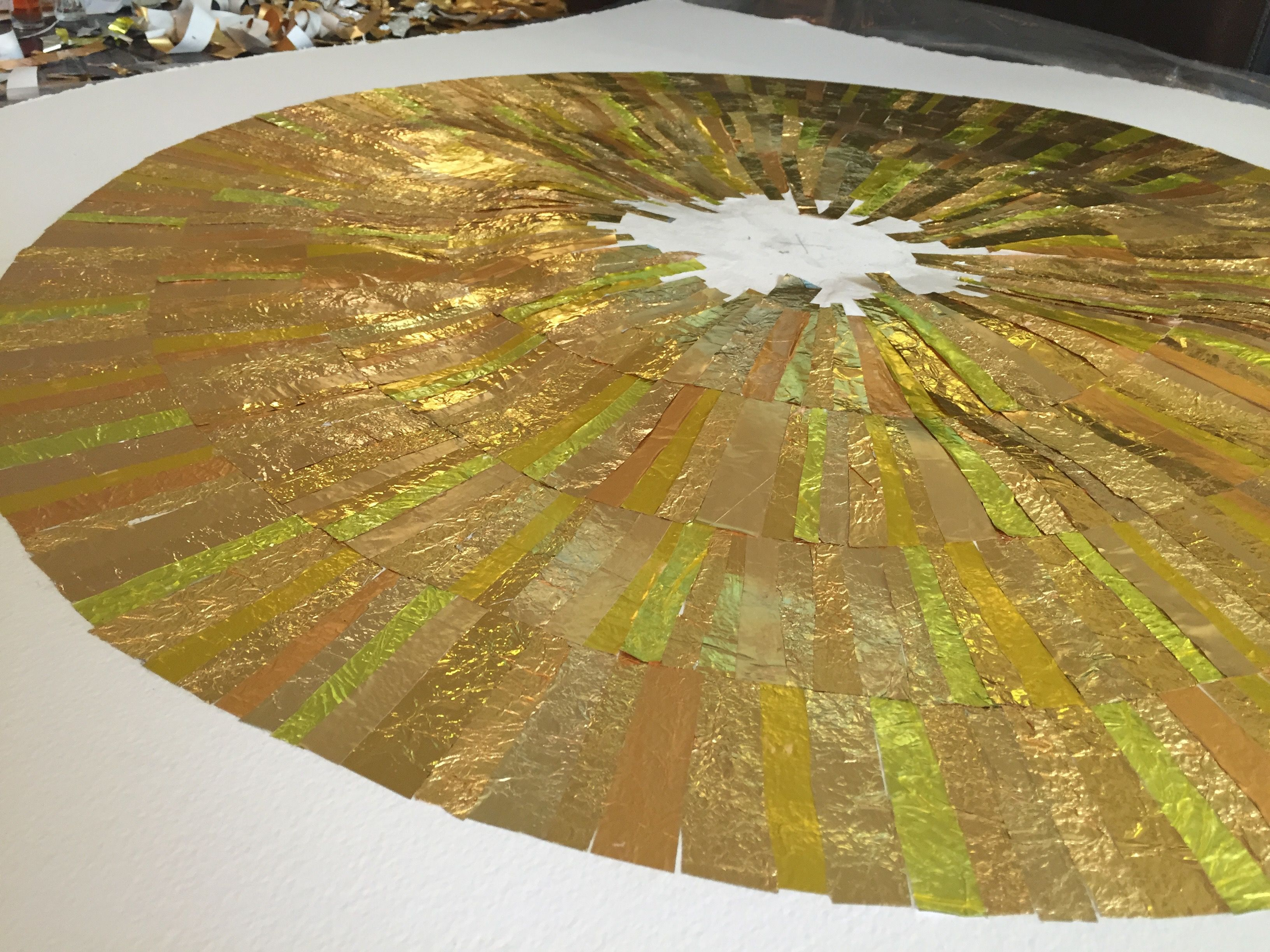 The making of GOLD wall art Fourth ripple complete. #recycling #art ...