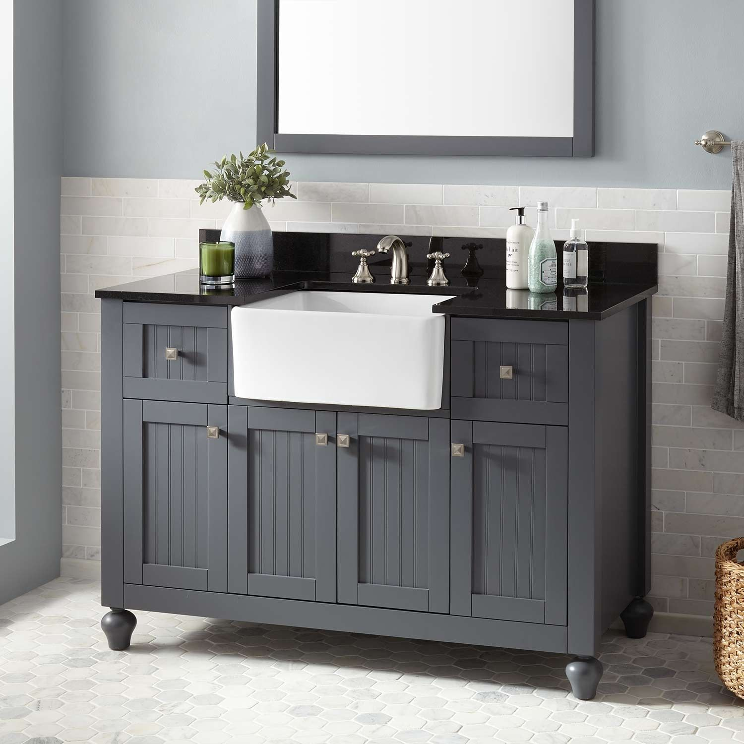 "48"" Nellie Farmhouse Sink Vanity Dark Gray Farmhouse"