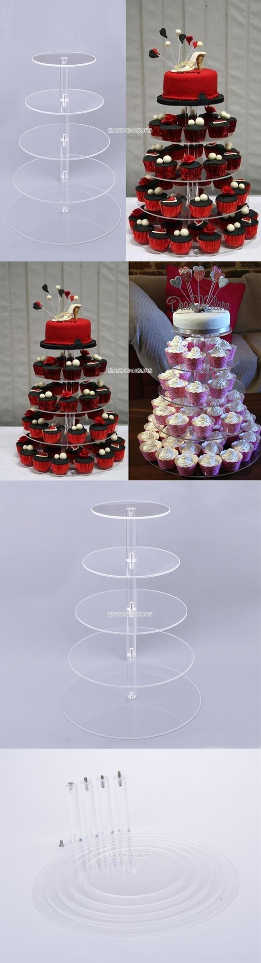 Tier crystal clear round cake cupcake stand wedding birthday