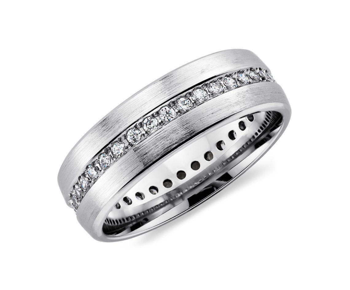 Brushed Diamond Eternity Men S Wedding Ring In 14k White Gold 1 2 Ct Tw Blue Nile Mens Rings Wedding Diamond Gents Wedding Rings Mens Wedding Rings