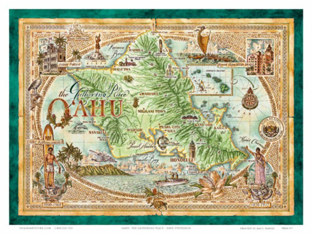 image regarding Printable Map of Oahu identified as Basic map of Oahu Classic - times absent via Oahu