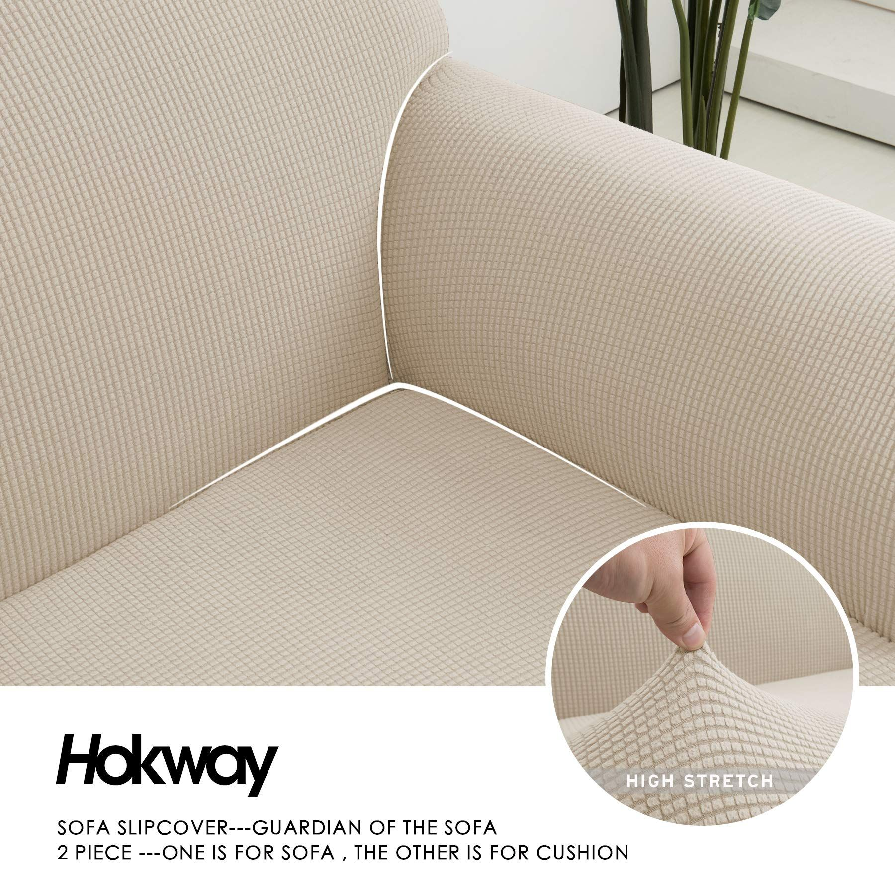 Fabulous Hokway 2Piece Stretch Sofa Slipcover Spandex Couch Cover Ncnpc Chair Design For Home Ncnpcorg