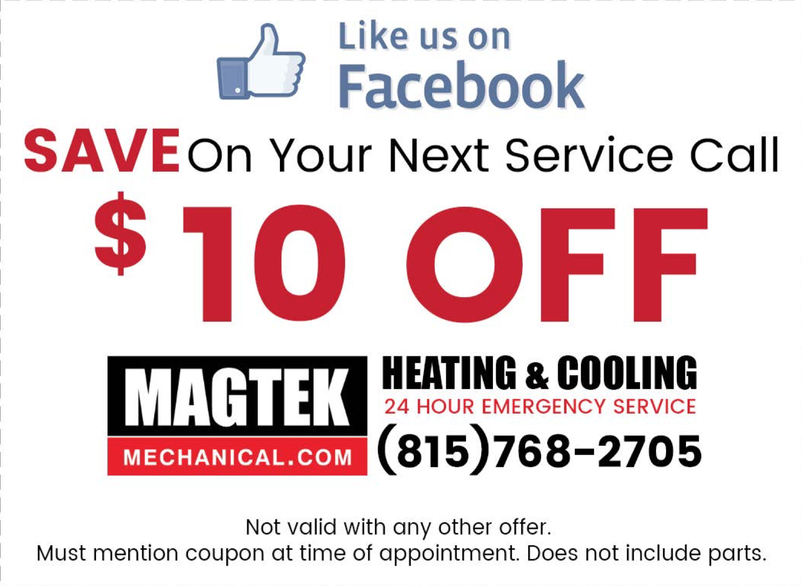 Like Us On Facebook And Get 10 Off Your Next Service Call