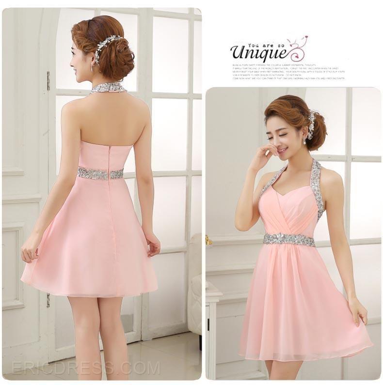 edc3ecdd9b brillantes abalorios cabestro vestido corto regreso a casa Sweet 16 vestidos-  ericdress.com 11153704