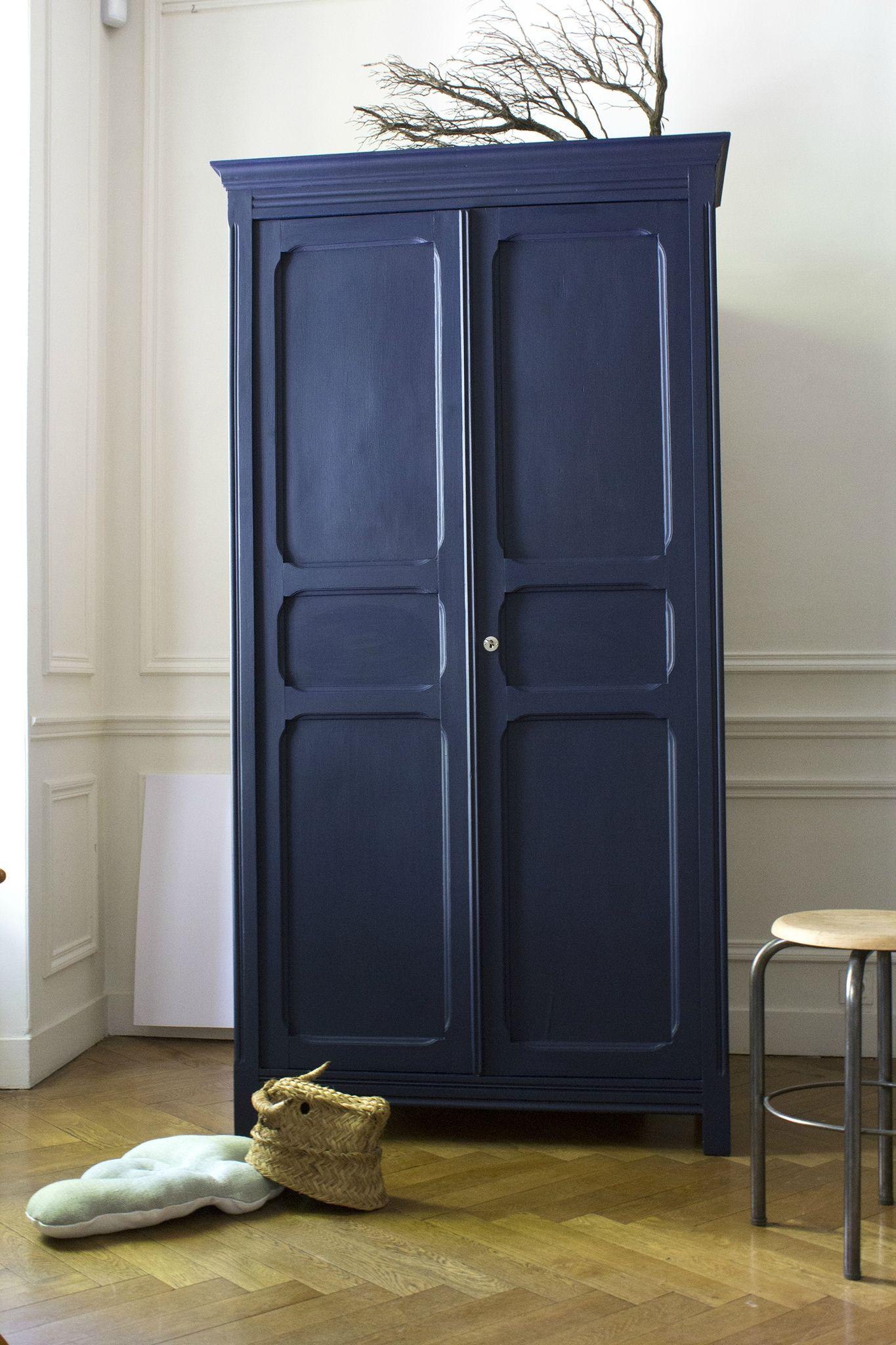 Armoire parisienne bleue chambre enfant trendy little 1 - Transformer une armoire en bureau ...