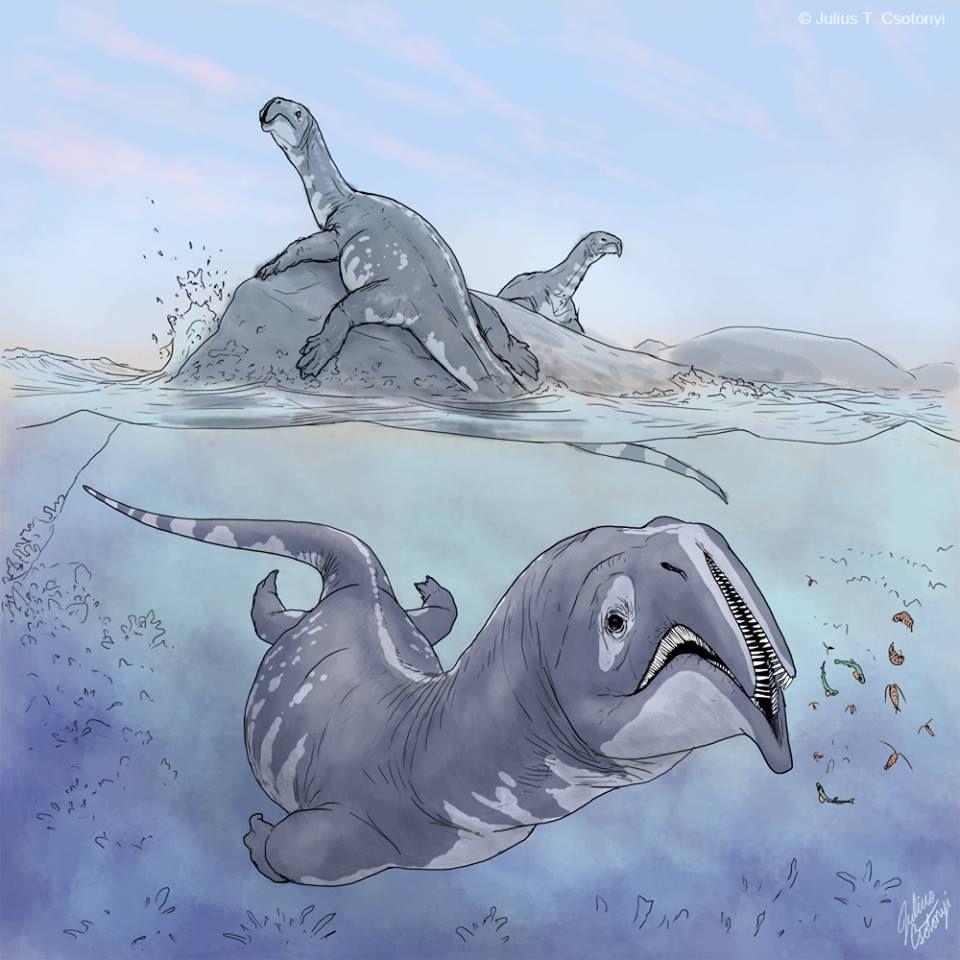"The Early Triassic ""Atopodentatus unicus"" by Julius Csotonyi"