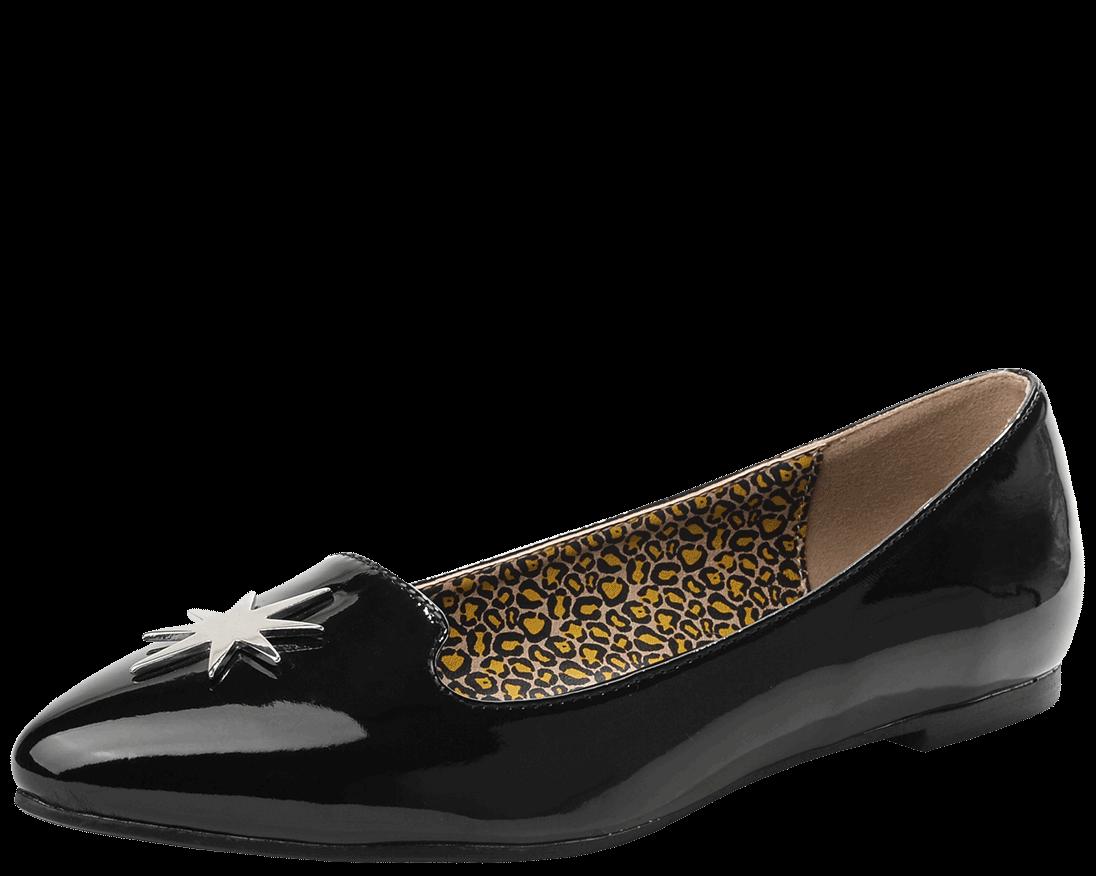 5f4ce9fcb92 Black Vinyl Vegan Starburst Patent Pointed Toe Flats - A8934L ...