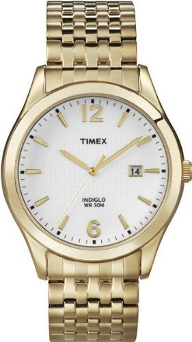 Timex Men's T2N849 Elevated Classics Dress White Dial Gold-Tone Expansion Band Watch Timex. $38.48. Durable mineral crystal protects watch from scratches. Stainless steel expansion band. Indiglo® Night-Light. Water-resistant to 99 feet (30 M). Water-resistant to 30 meters