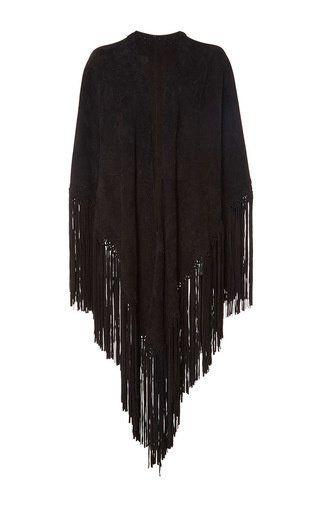 Suede macramé shawl by TALITHA for Preorder on Moda Operandi
