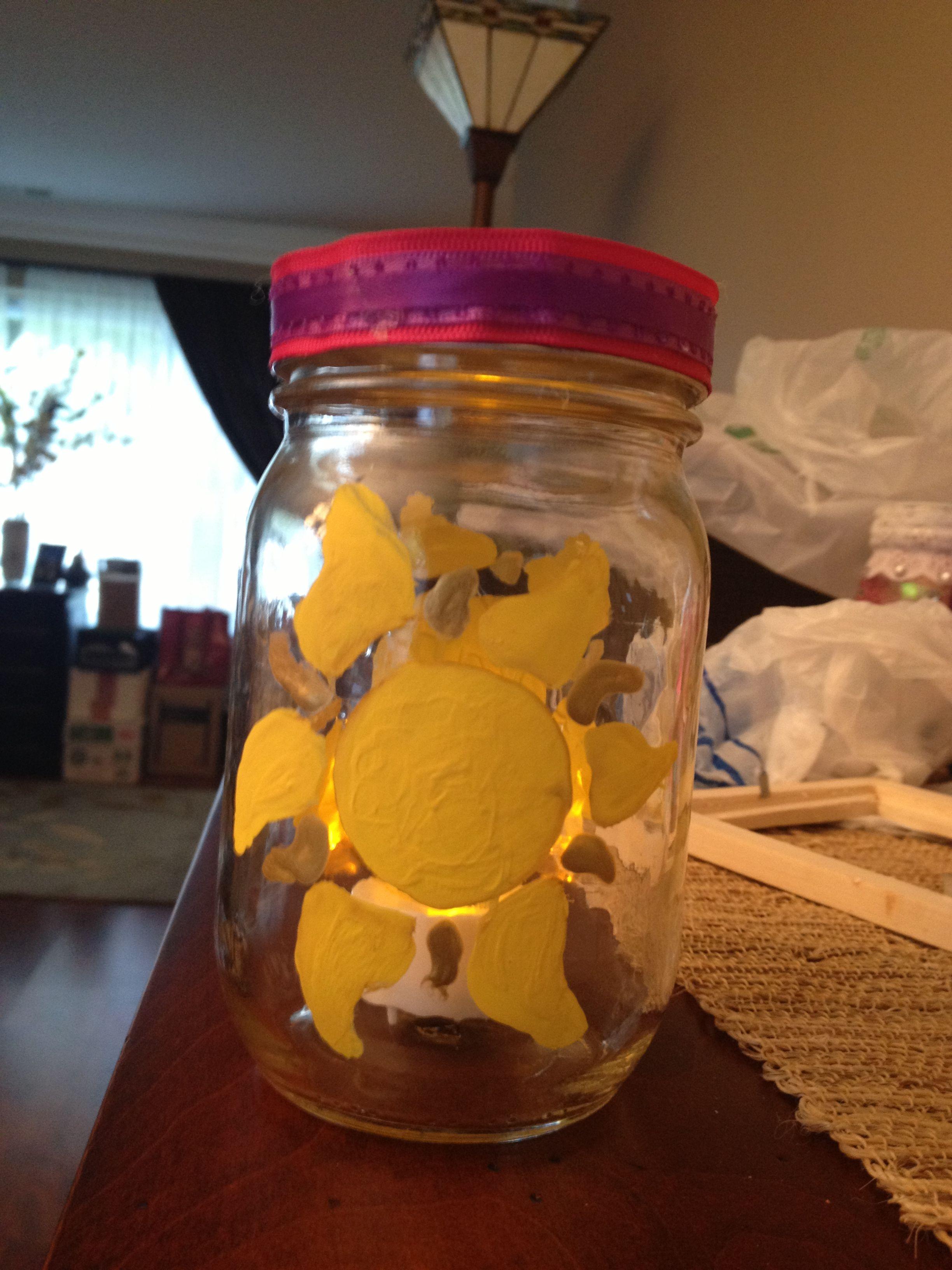 Made this DIY Tangled mason jar lantern!! Mason jar
