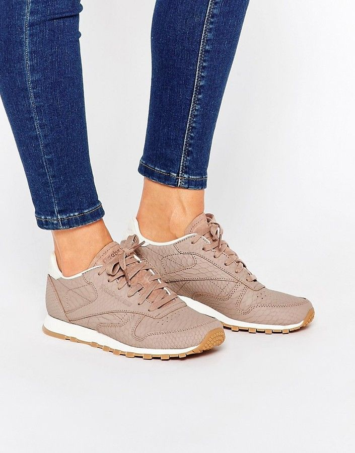 717c995064e Reebok Taupe Classic Leather Sneaker With Snake Texture