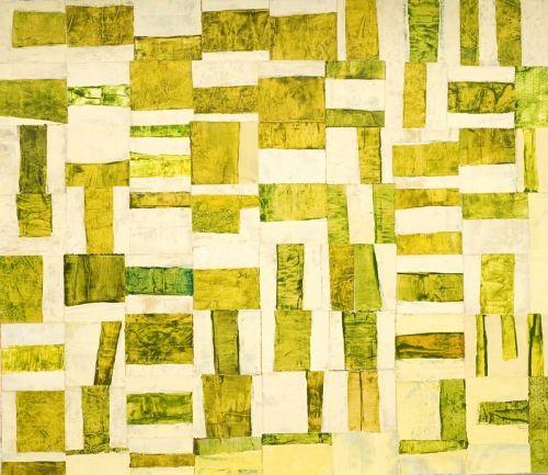 nancy egol nikkal, Metro Yellow Green, 23x26, painted paper collage