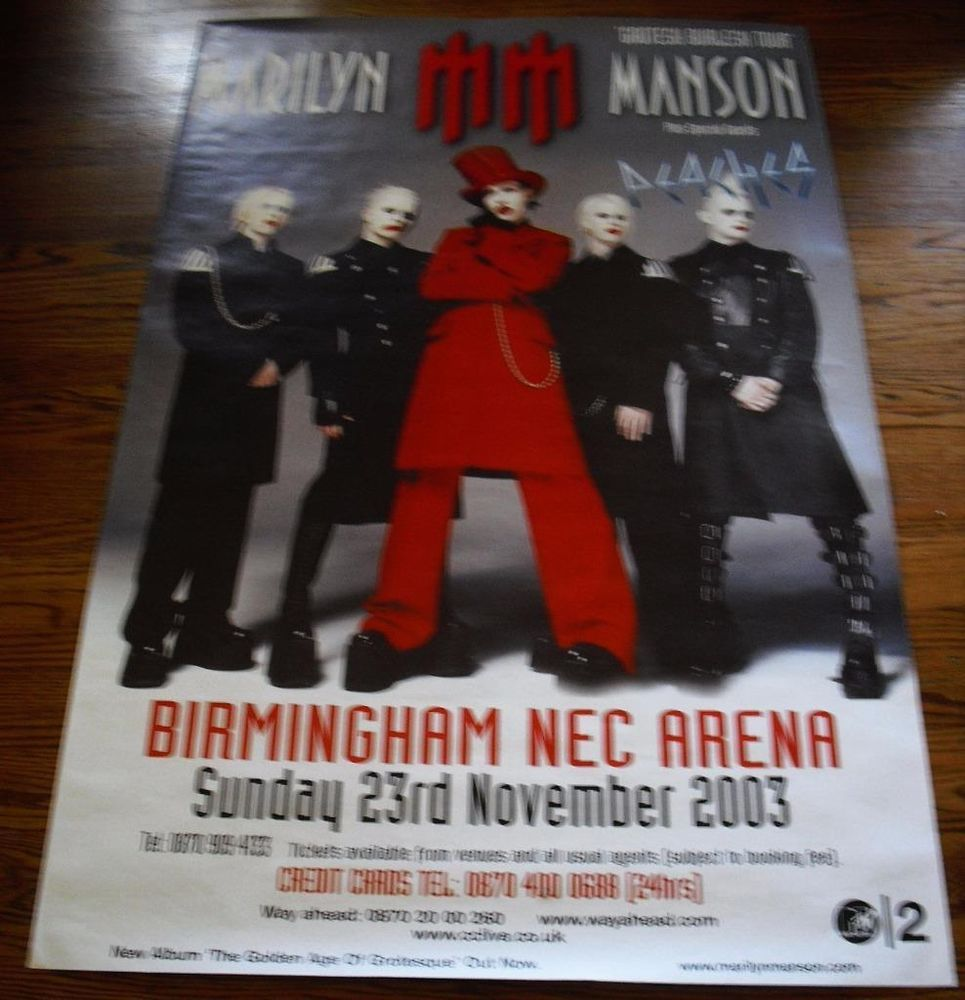 Marilyn Manson Large Poster Birmingham Nec Arena Uk 60x39 Nov 23rh 2003 Realism Poster Birmingham Nec Birmingham