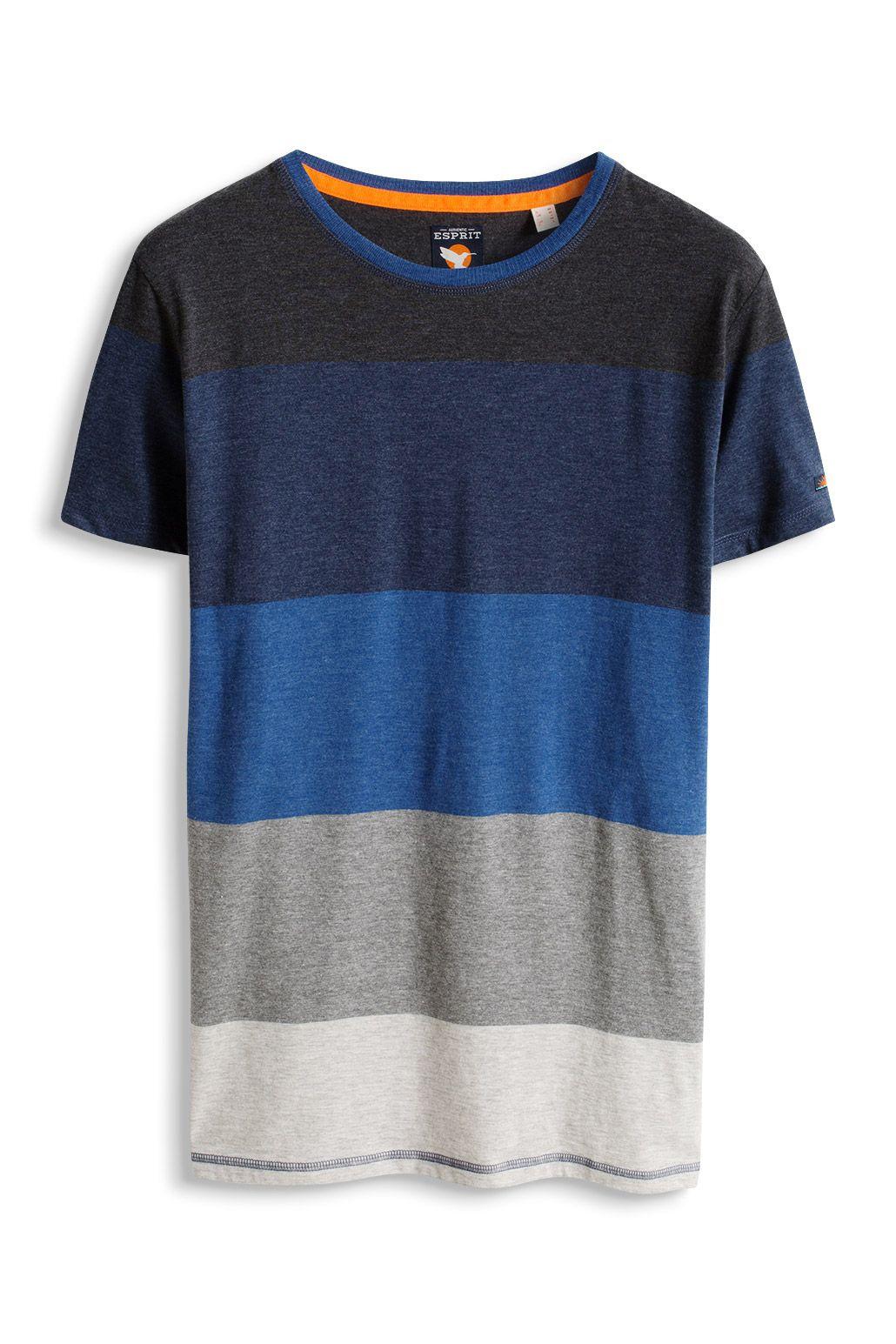 Esprit : T-shirt rayé, en jersey de coton mélangé à acheter sur la Boutique en ligne