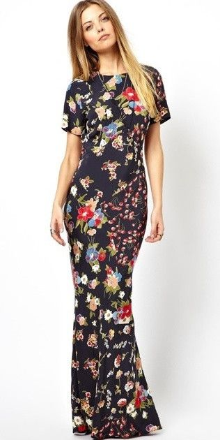 Images of Short Sleeve Maxi Dress - Reikian