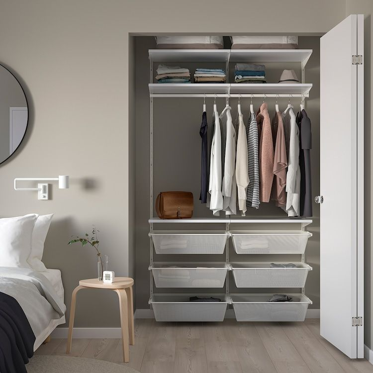 Boaxel 2 Section Shelving Unit White Shop Here Ikea Shelving Unit No Closet Solutions Shelving