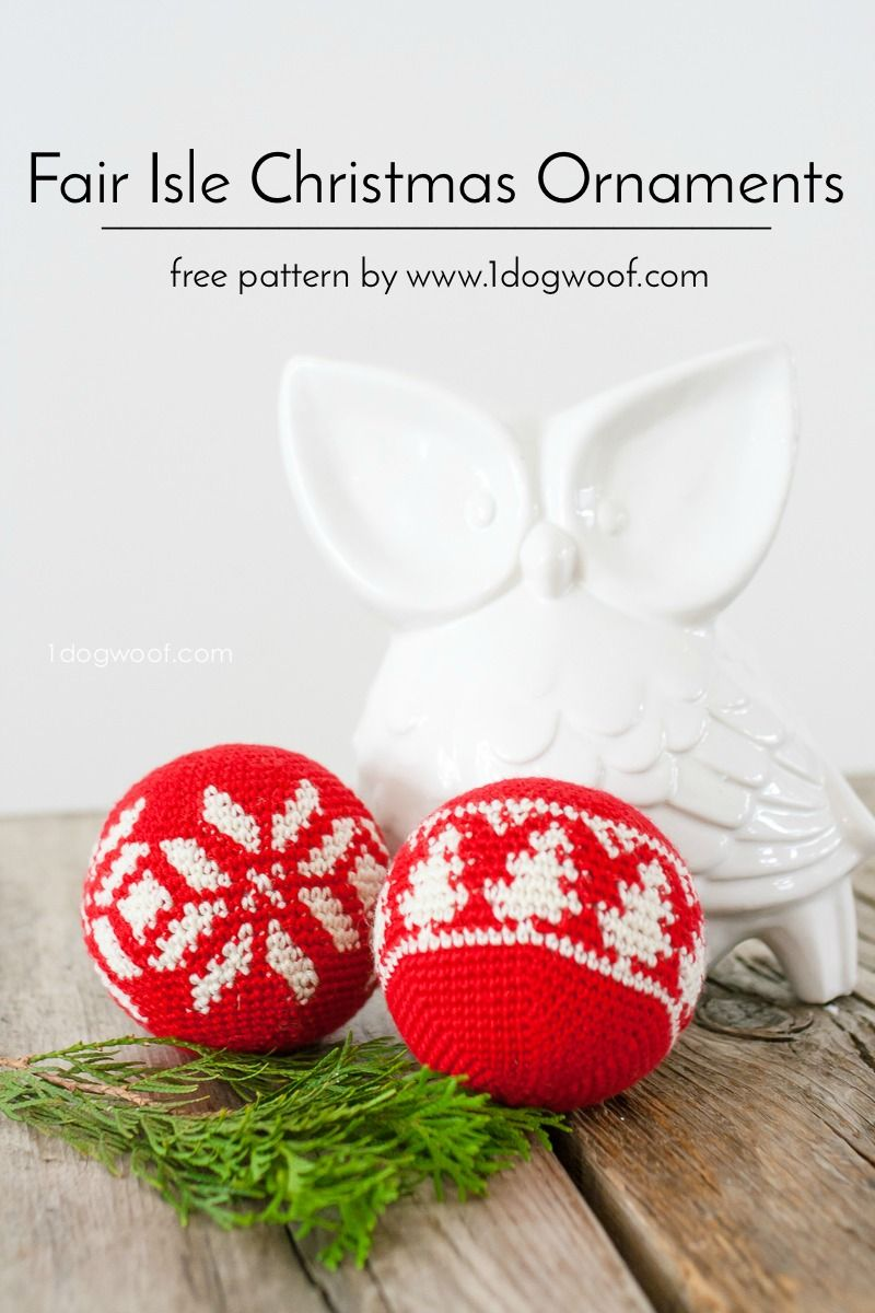 Fair Isle Evergreen Christmas Ornament | Weihnachten und Häkeln
