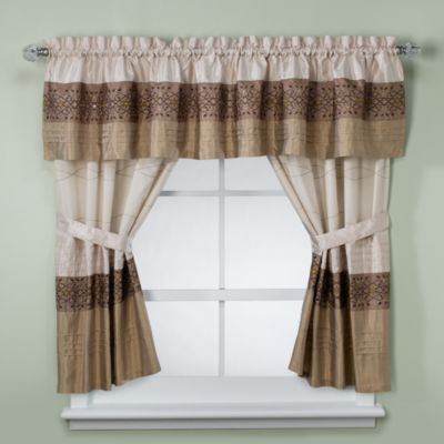 Buy KAS Romana Bathroom Window Curtain Pair in Taupe from Bed Bath & Beyond