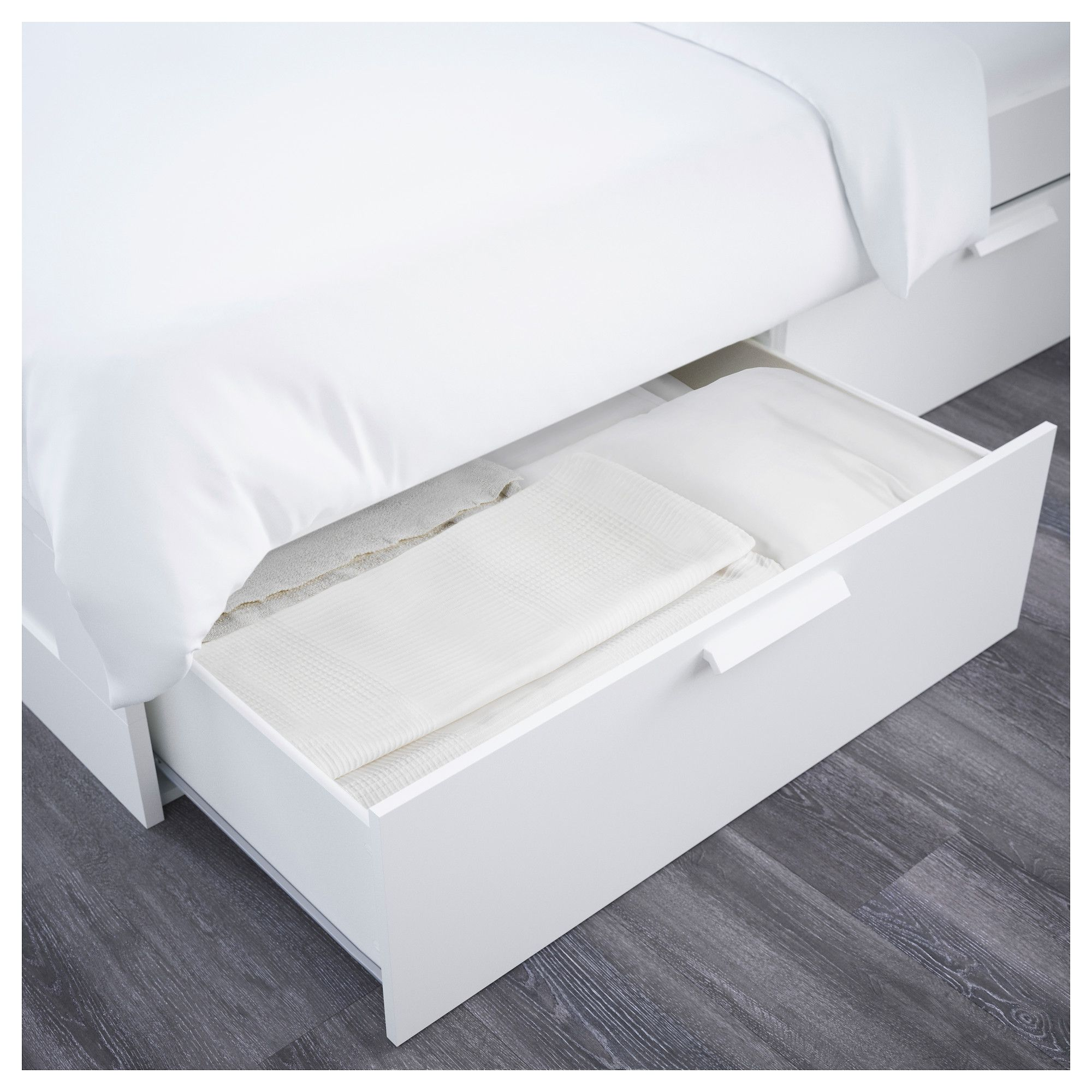 BRIMNES Bed frame with storage & headboard, white, Leirsund