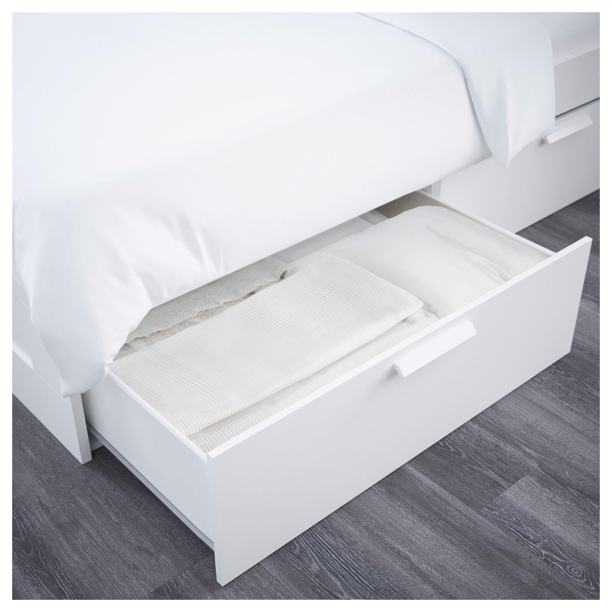 IKEA - BRIMNES Bed frame with storage & headboard white | Pinterest