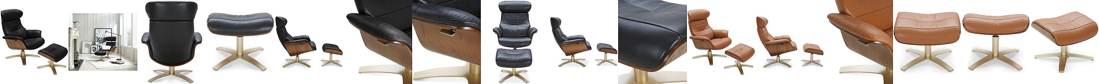 Annaldo Leather Swivel Chair Amp Ottoman 2 Pc Set Leather