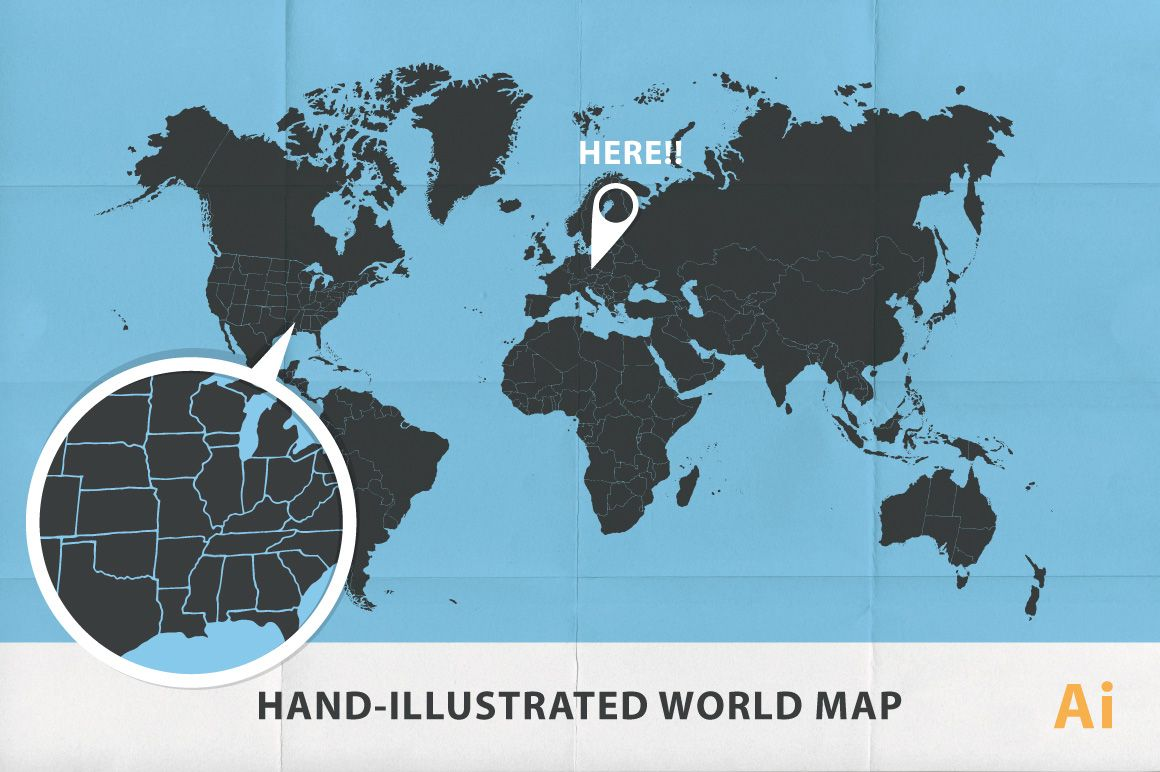 Ai hand illustrated map of world illustrated maps adobe ai hand illustrated map of world by vtek prchal on creative market publicscrutiny Choice Image