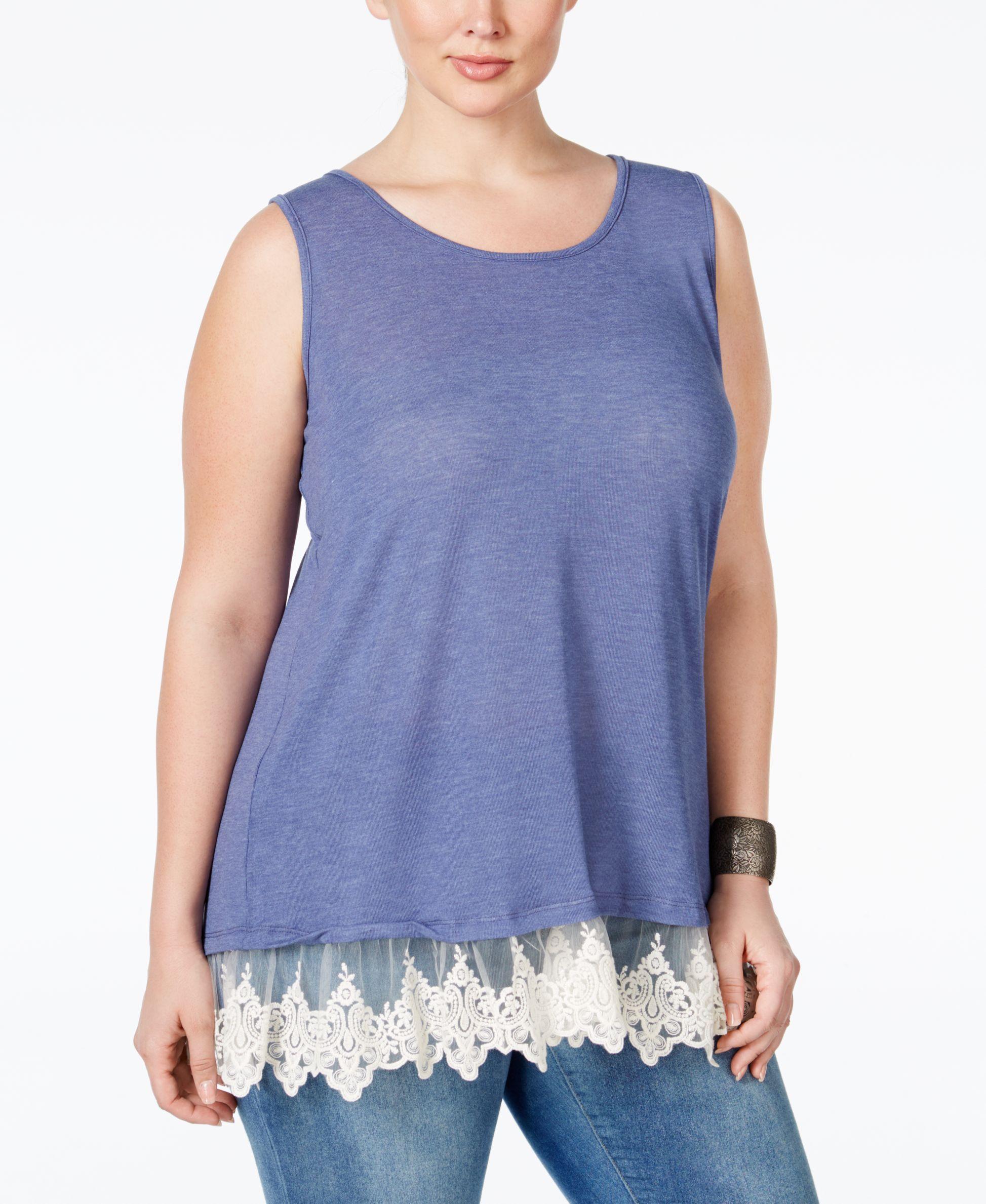 Ing Plus Size Lace-Trim Knit Tank Top