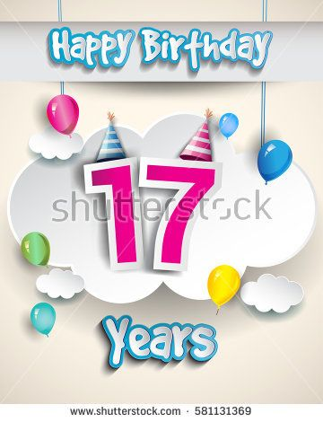 17th Birthday Celebration Design With Clouds And Balloons Design
