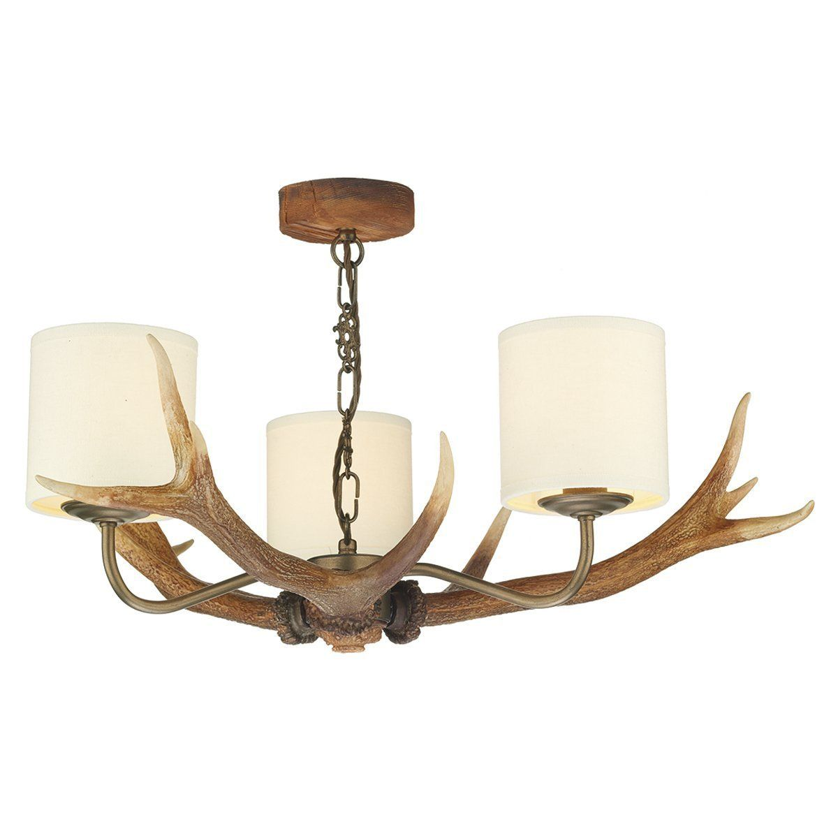 Antler 3 Light Candle Style Chandelier Finish  Highland Rustic