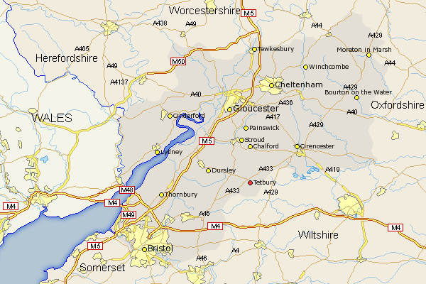 Map Of Uk Gloucester.Gloucestershire Map Showing Location Of Tetbury Ancestors England