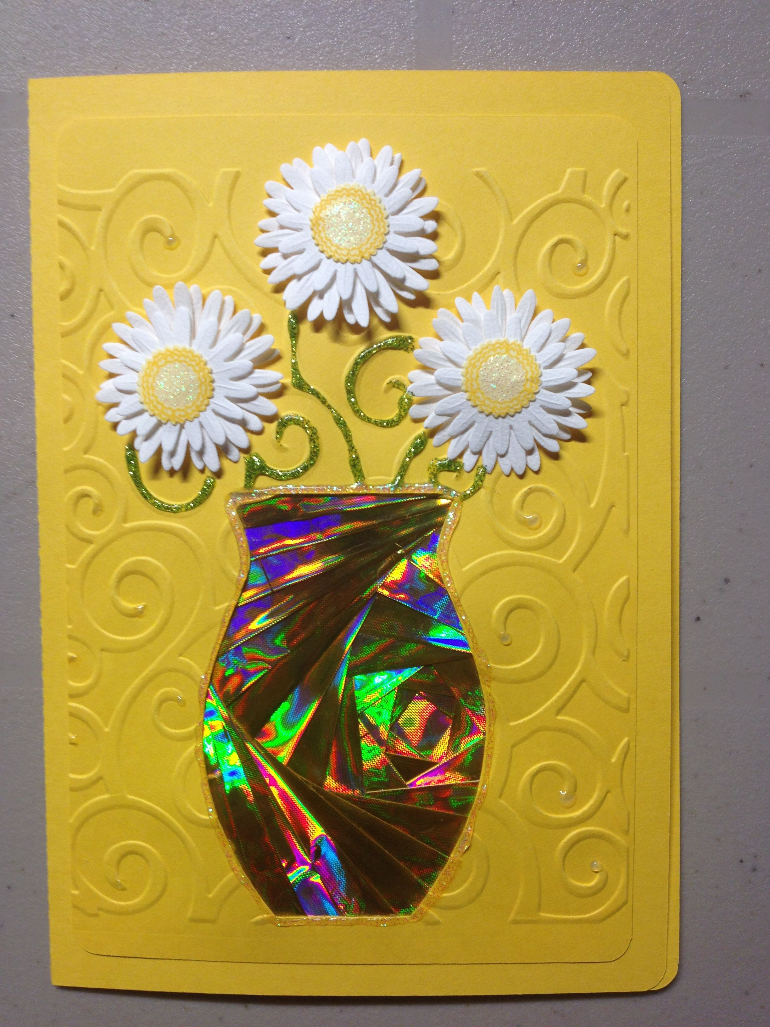 Iris Folding Flowers In Vase Using Christmas Foil Wrapping Paper