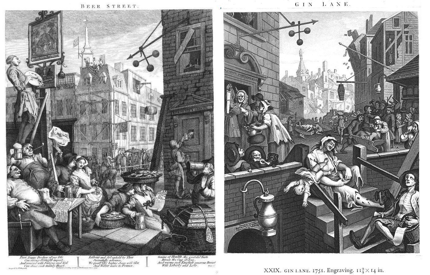 Beer Street Gin Lane Hogart Birra