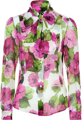 6dad18ee ShopStyle: D Dolce & Gabbana Pink and Green Sheer Floral Silk Blouse ...