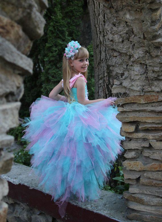 Vestido de niña de flor azul  fiesta de por KingdomBoutiqueUA