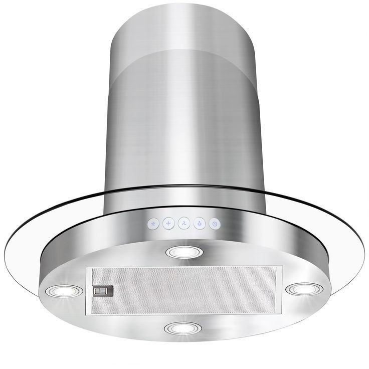 Akdy Rh0052 Rh0209 30 In Convertible Kitchen Island Mount Range Hood Stainless Steel With Circular Tempered Gl Design Hoods