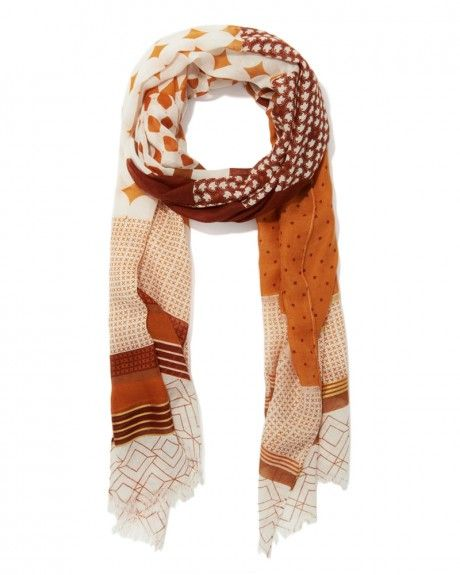 Mixed Geo Print Long Scarf | Charming Charlie