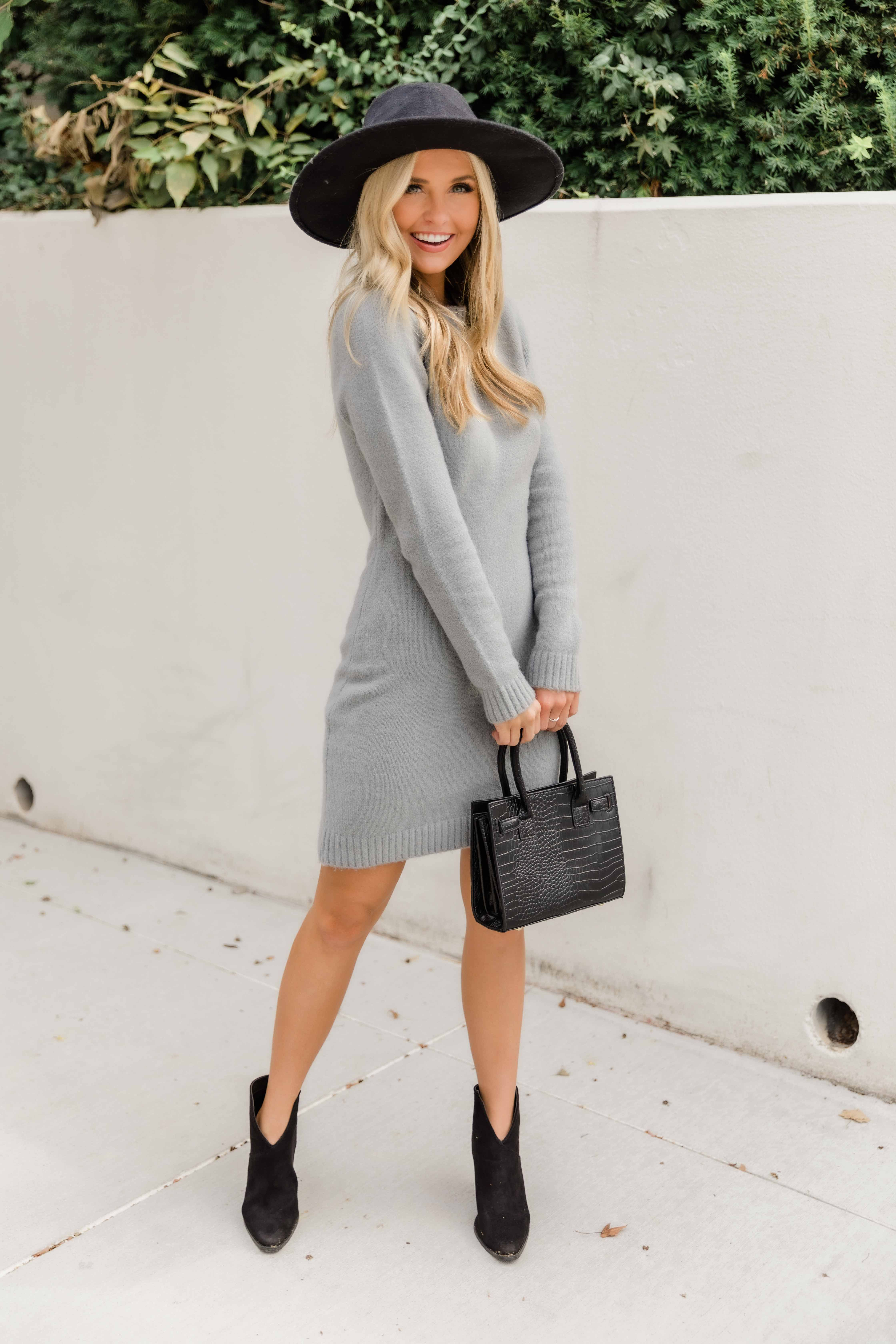 Have All The Answers Grey Sweater Dress CLEARANCE