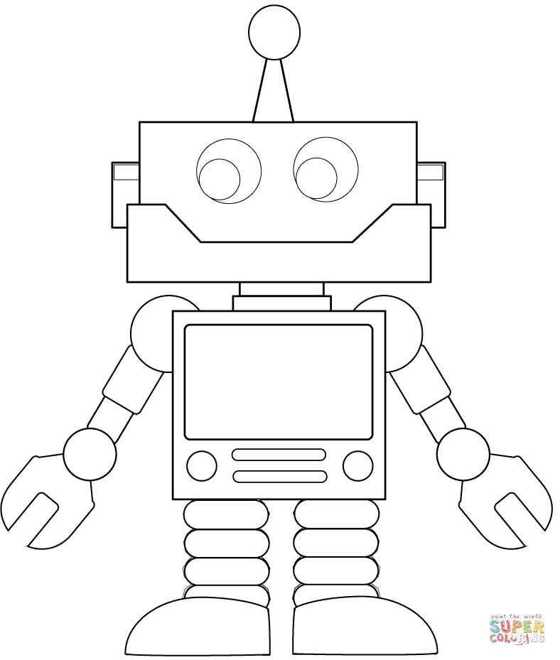 ausmalbild: karrikatur roboter | ausmalbilder kostenlos