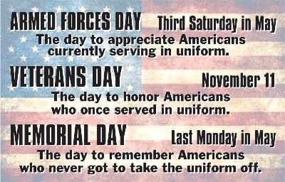 Armed Forces Day vs. Memorial Day vs. Veterans Day | Memorial day quotes, Memorial  day, Veterans day