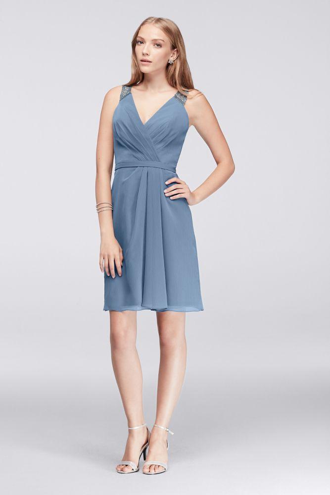 Short Chiffon V-Neck Bridesmaid Dress with Illusion Lace Back - Steel Blue  Metallic 0811af334