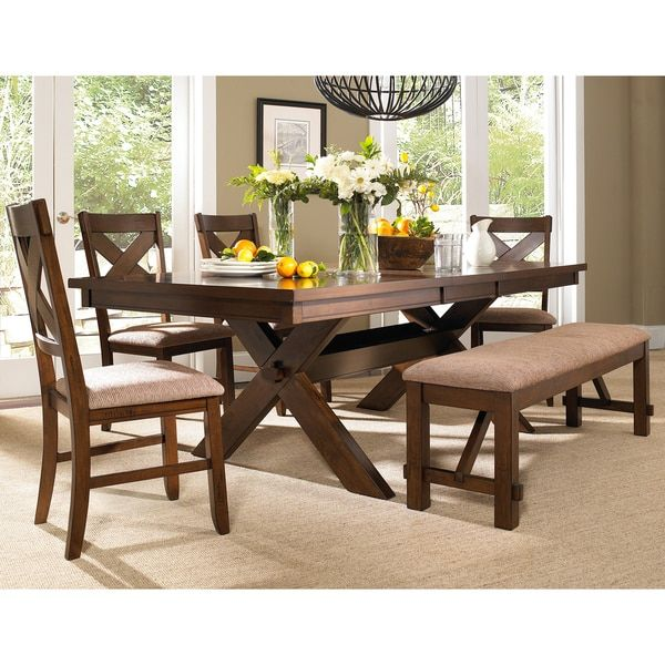 6 Piece Solid Wood Dining Set With Table 4 Chairs And Bench Simple Dining Room Chairs Online Inspiration Design
