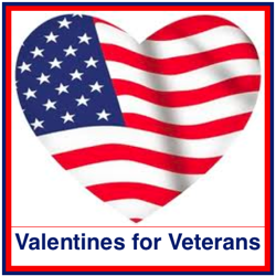 Stars and Stripes Patriotic Heart Service Military Valentine/'s Day Card
