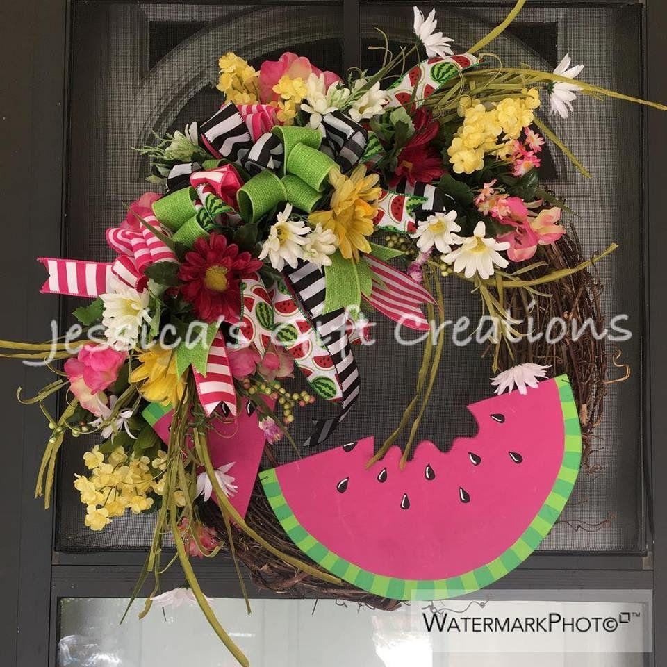 Made to Order Watermelon Grapevine WreathFront Door WreathSpring Door HangerYear RoundBurlap DecorSummer WreathDaisies DecorSeasonal